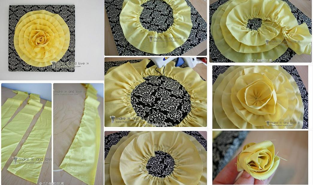 Diy fabric flower decoration for Hand work decoration