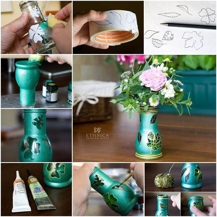 Beautiful vase made from glass bottle for Making glasses from bottles