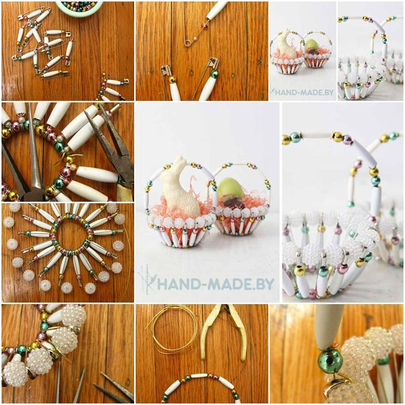 DIY Beautiful Basket With Beads And Safety Pins