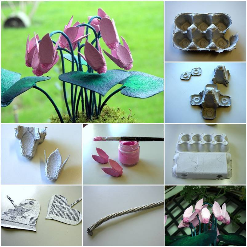 Diy egg box delicate flowers thumb Egg carton flowers ideas