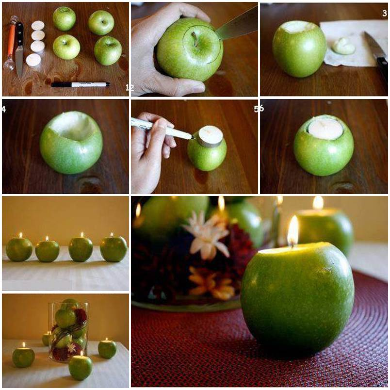 Diy apple candle holders for How to make christmas candle holders