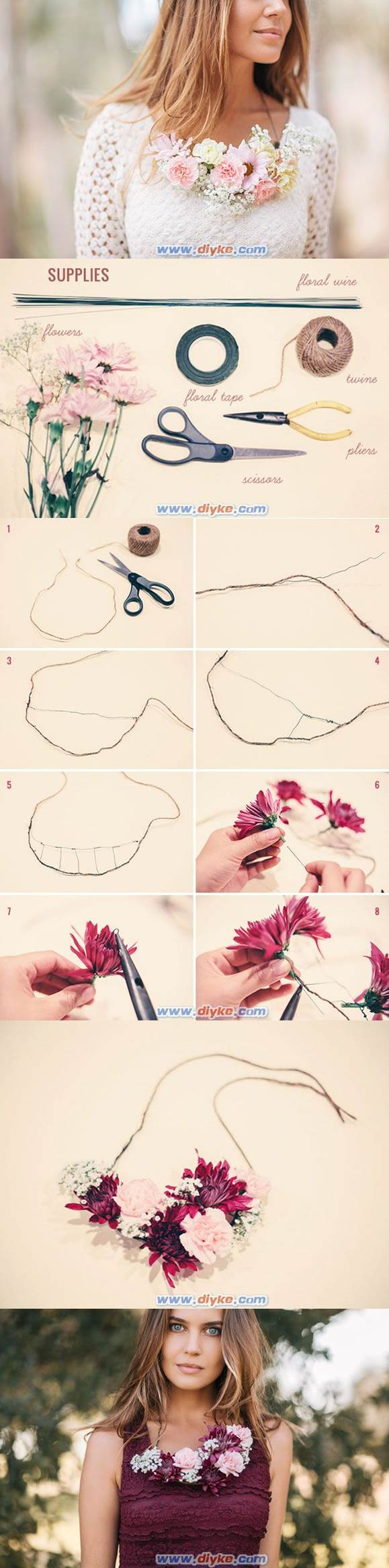 DIY Güzel Çiçek Kolye 2