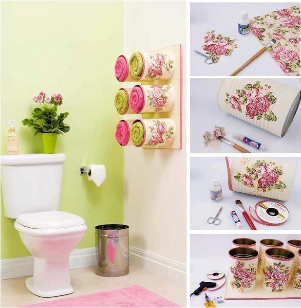 Diy beautiful towel storage with tin cans - Diy tin can ideas ...