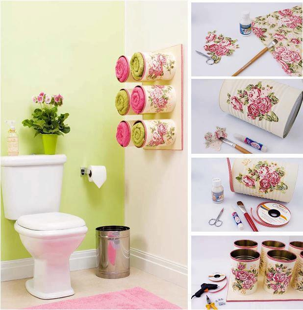Diy beautiful towel storage with tin cans for Tin can diy