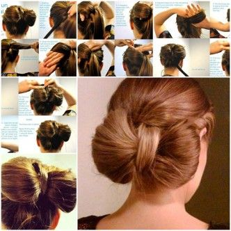DIY Bow Bun Hairstyle 1