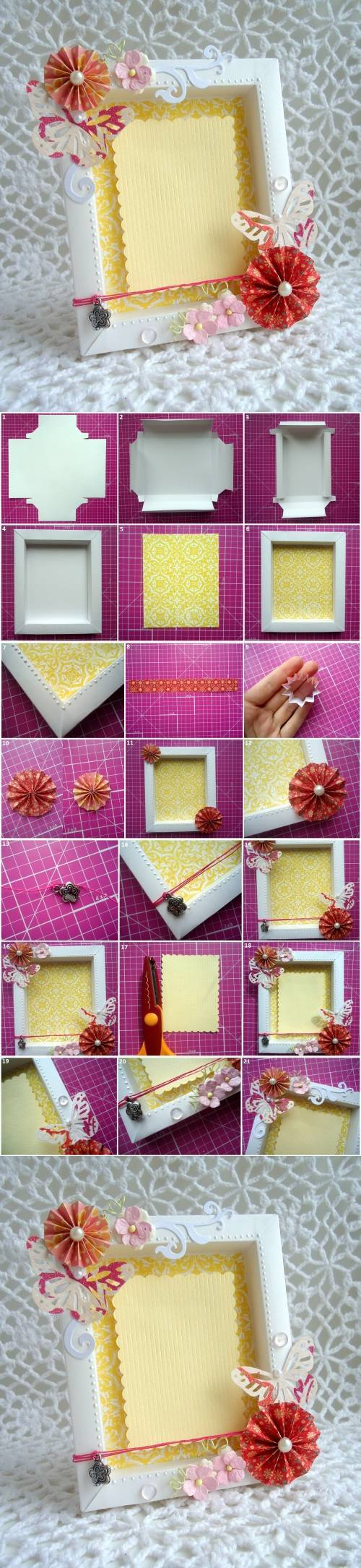 Diy cute cardboard picture frame for Cool picture frame designs
