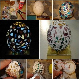 DIY Eggshell Mosaic Lamp 1