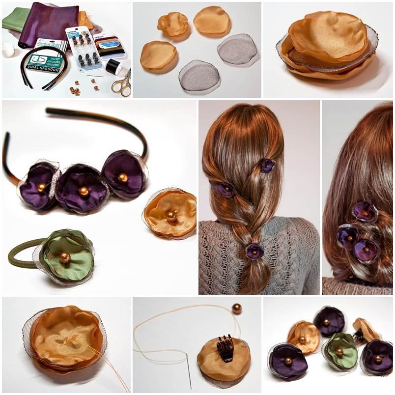Diy Fabric Flower Hair Accessories