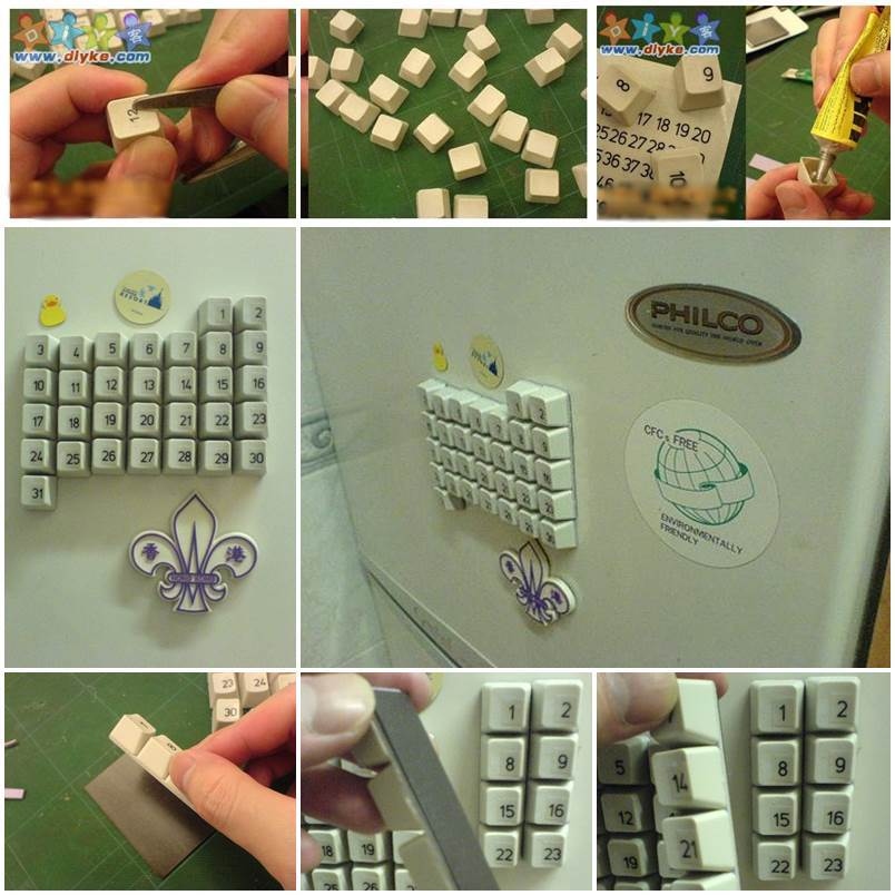 Diy Old Calendar : Diy fridge magnet calendar from old keyboard
