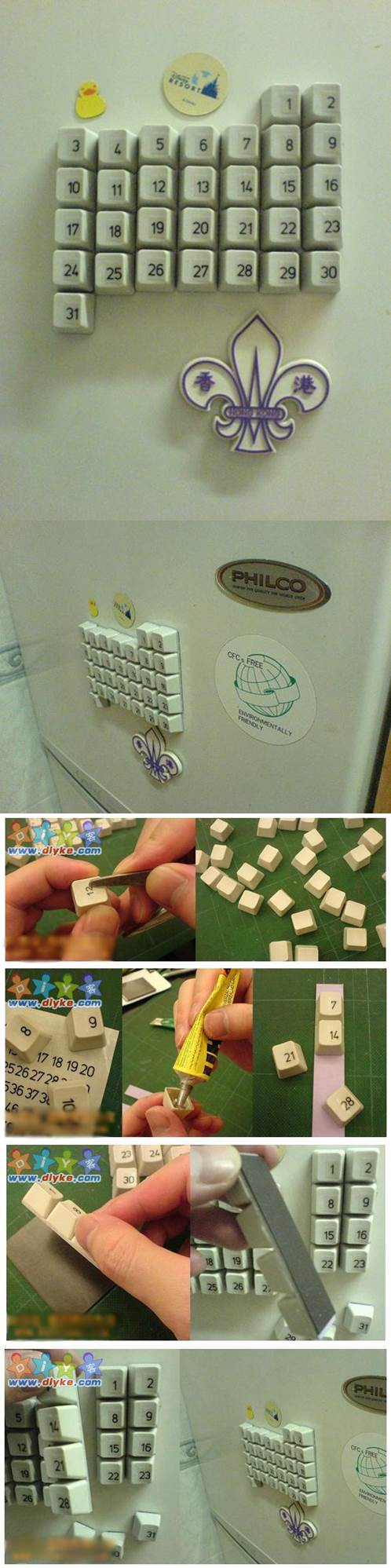 Diy Refrigerator Calendar : Diy fridge magnet calendar from old keyboard