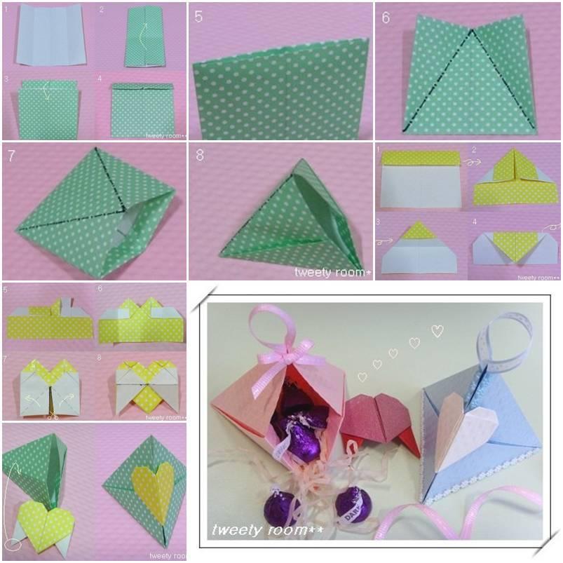 Diy Origami Triangle Heart Lock Gift Box