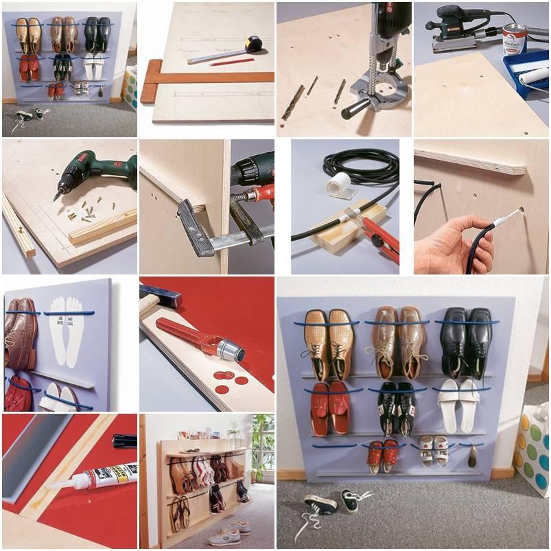 Diy space saving hanging shoe rack for Diy wall shoe rack