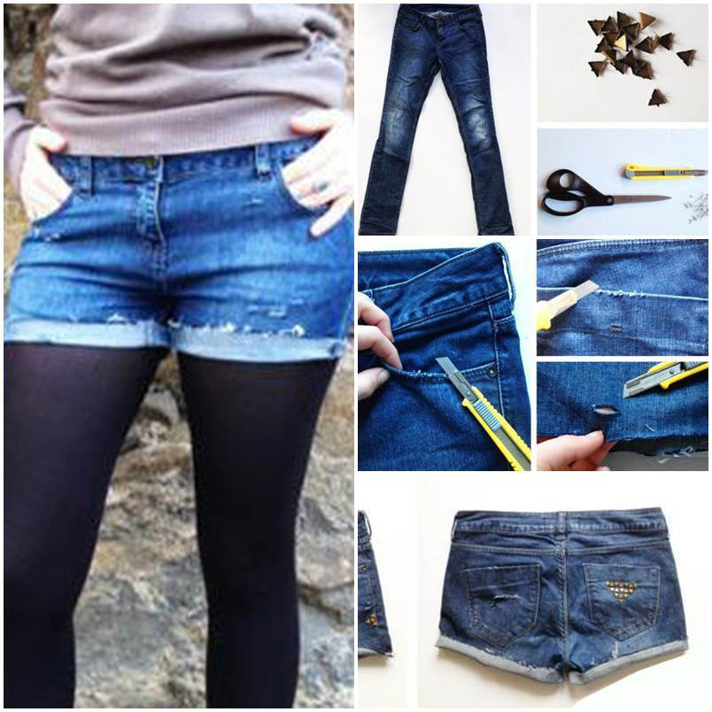 DIY Studded Shorts from Old Jeans