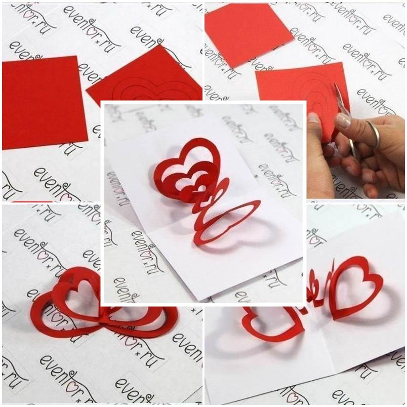 DIY 3D Hearts Valentine's Day Card