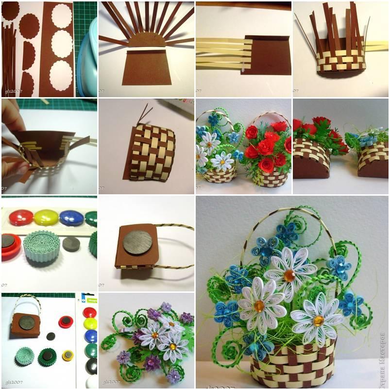 diy woven paper flower basket