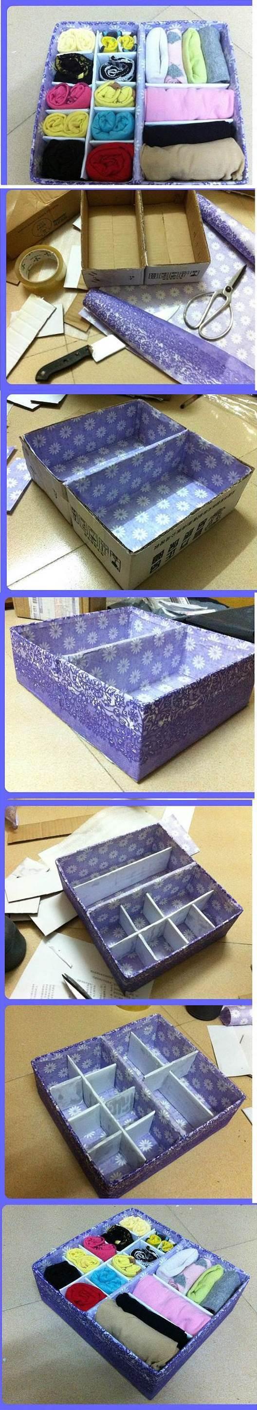 DIY Cardboard Underwear Storage Box