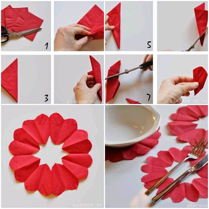 Diy heart flower napkin decorations for Heart decorations for the home