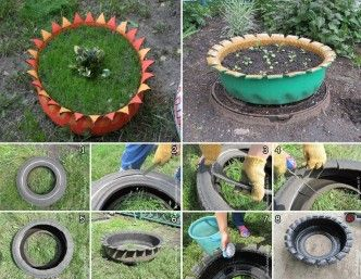 Old Tire Turned into Plant Pot 1