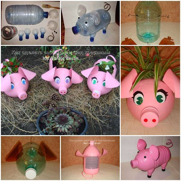 Diy adorable piglet planter from plastic bottles for Creativity with plastic bottles