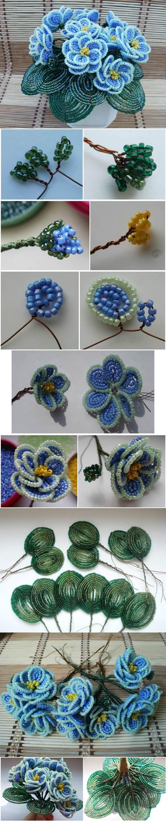Diy Beaded Violet Flower Bouquet