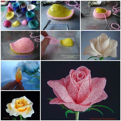 diy beautiful beaded rose petals