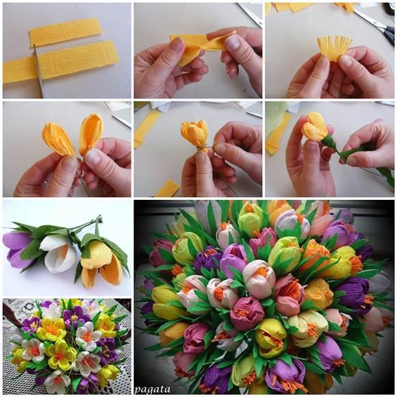 Цветы из гофрированной пошаговое фото