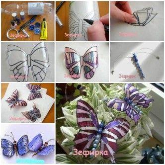 DIY Beautiful Butterflies from Plastic Bottles 1