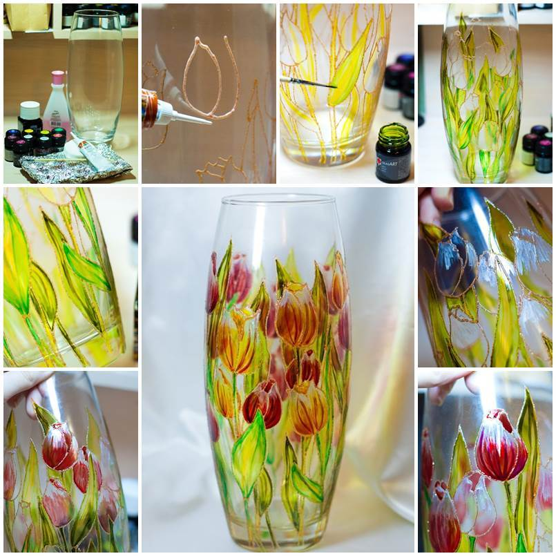 DIY Beautiful Floral Painted Glass Vase