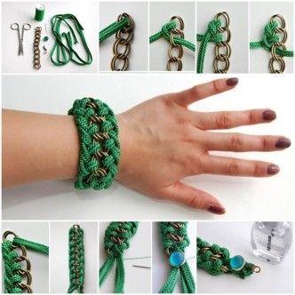 DIY Beautiful Green Braided Bracelet 1