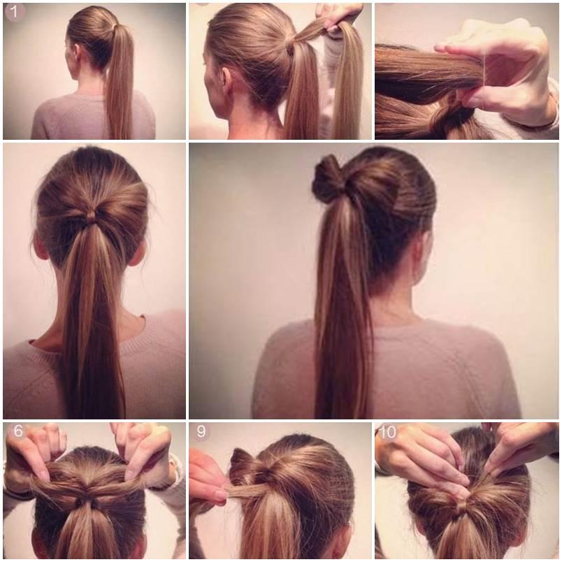 Prime Diy Bow Ponytail Hairstyle Short Hairstyles Gunalazisus