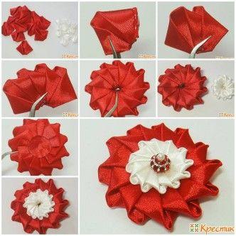 DIY Bright Satin Ribbon Flower thumb