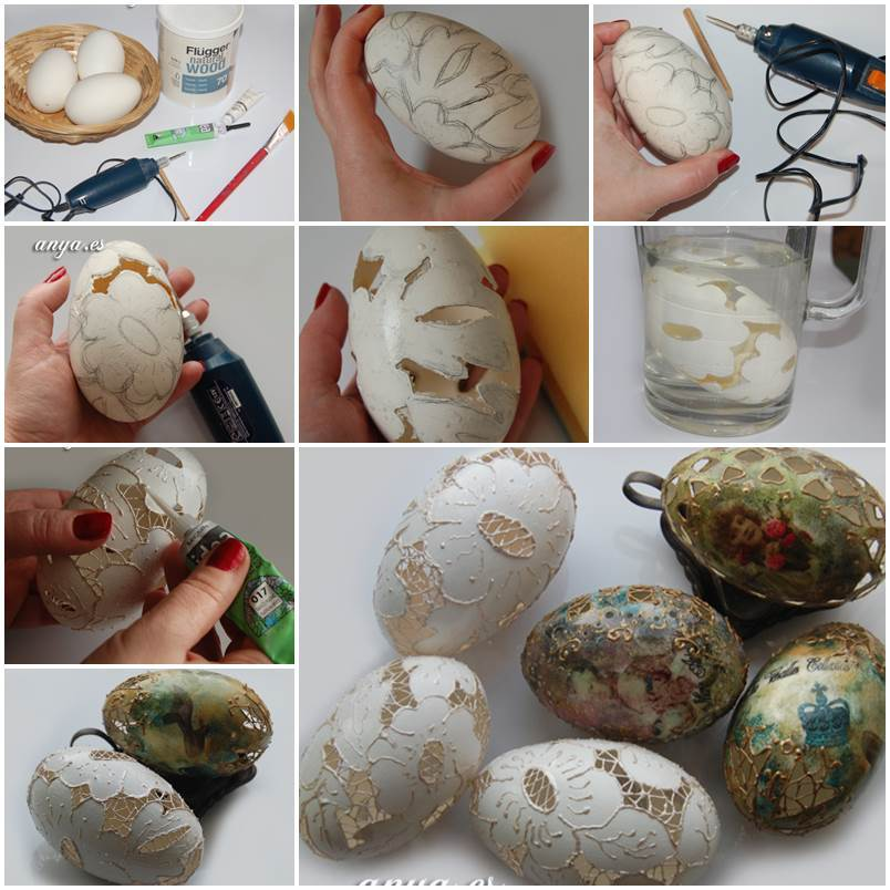 52 Spectacular Diy Christmas Decorations You Must Try This: DIY Carved Lace Easter Eggs