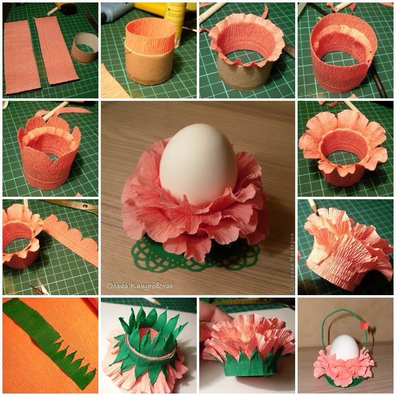How To Make Flower Basket From Paper : Diy crepe paper flower easter egg stand