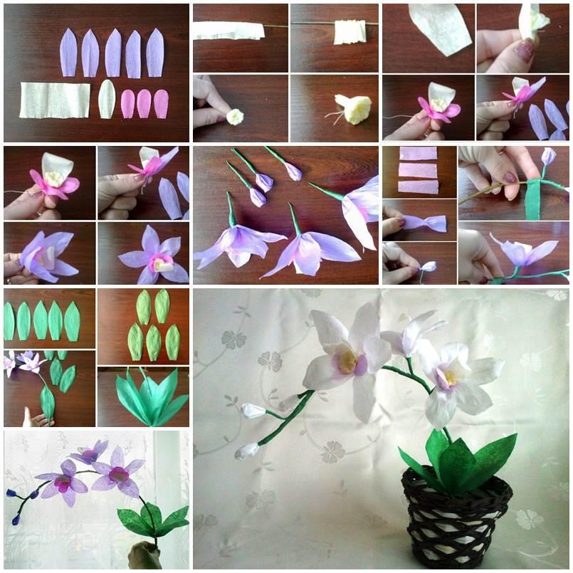 diy crepe paper orchids