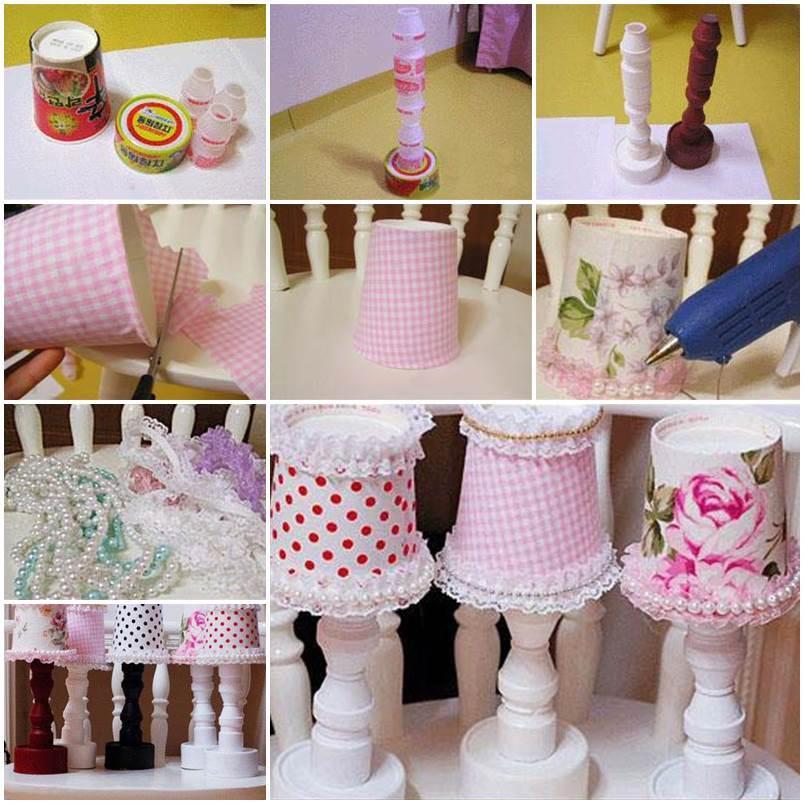 Diy cute decoration desk lamps from recycled containers for Creative lamp ideas to make at home