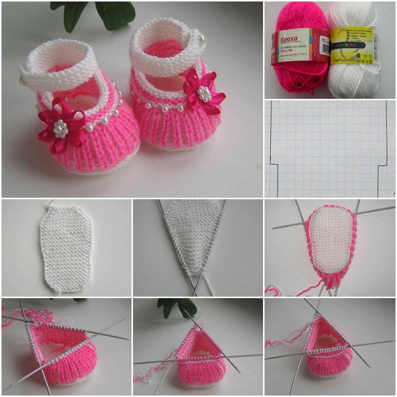 DIY Cute Knitted Baby Shoes