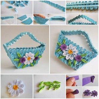 DIY Delicate Quilling Basket 1
