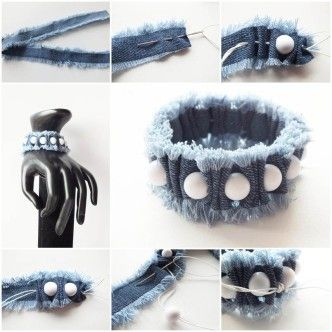 DIY Denim and Beads Bracelet 1