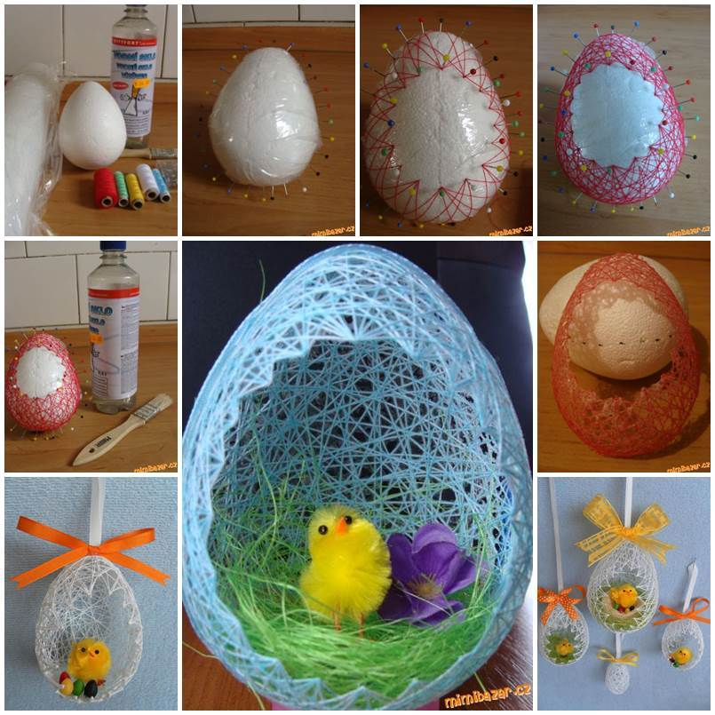Diy easter egg basket from thread
