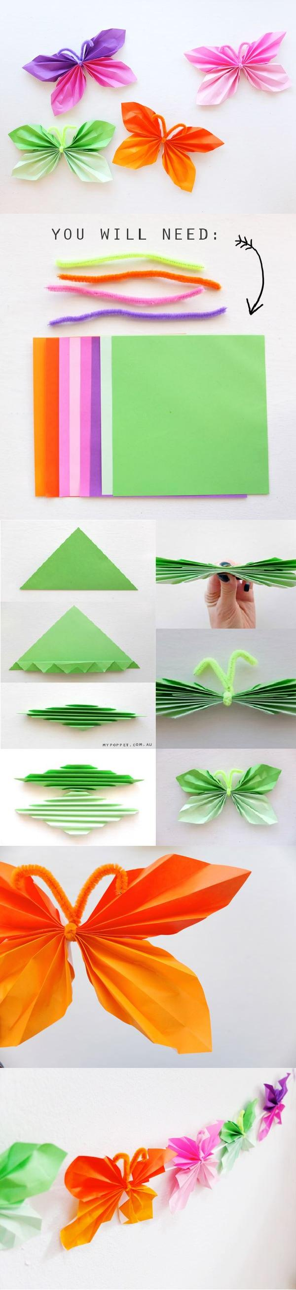 DIY Easy Folded Paper Butterflies 2