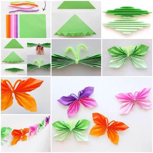 Diy easy folded paper butterflies for Paper art butterfly