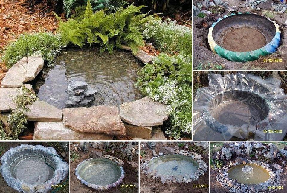 Diy mini pond from old tire for Diy pond fountain