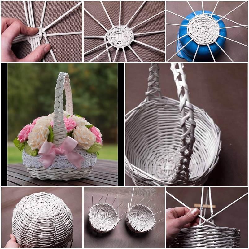 How To Weave A Simple Basket : Diy newspaper tubes weaving basket