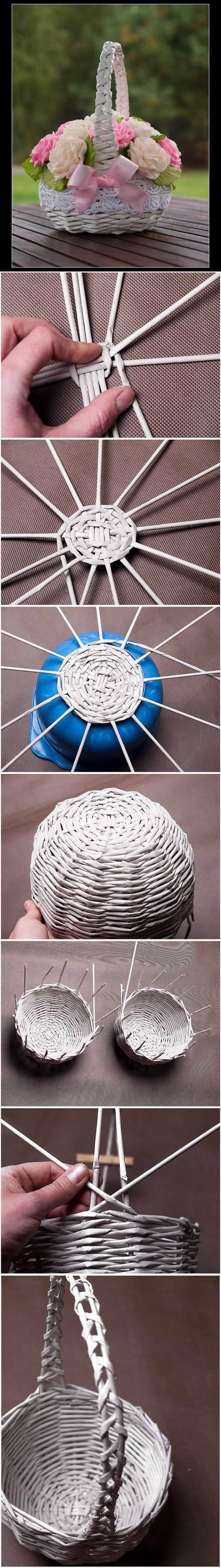 DIY Newspaper Tubes Weaving Basket 2