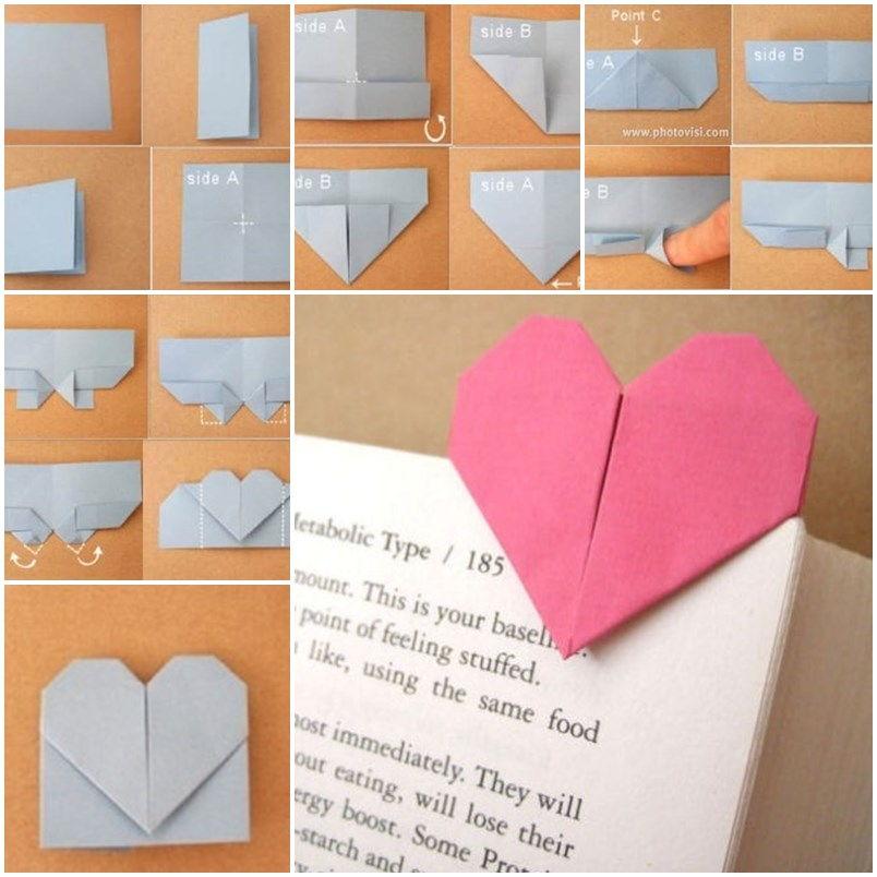 diy origami heart shaped bookmark