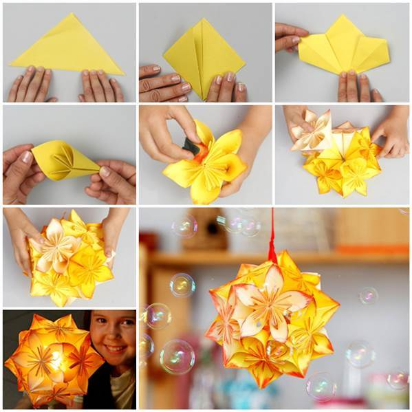 Diy origami kusudama decoration for Decoration origami