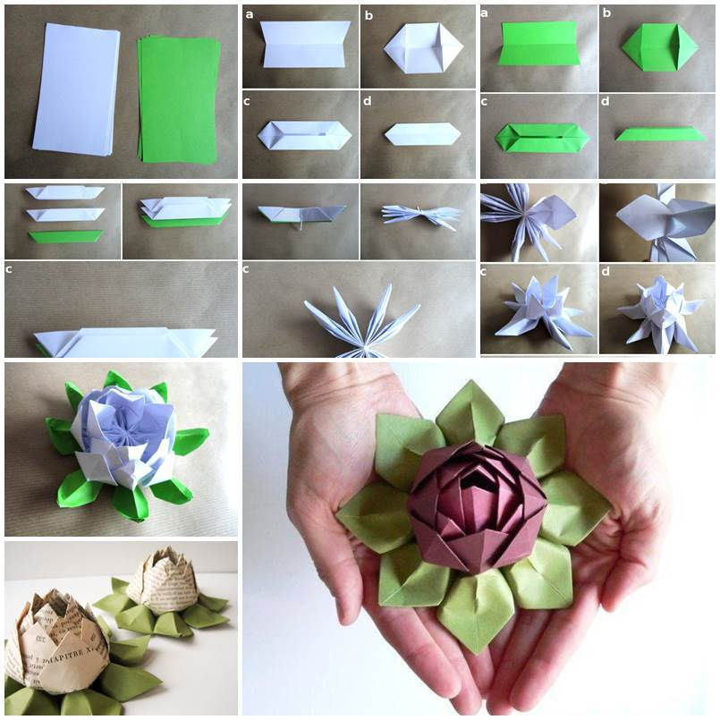 DIY Origami Paper Flower Dish | iCreativeIdeas.com - photo#46