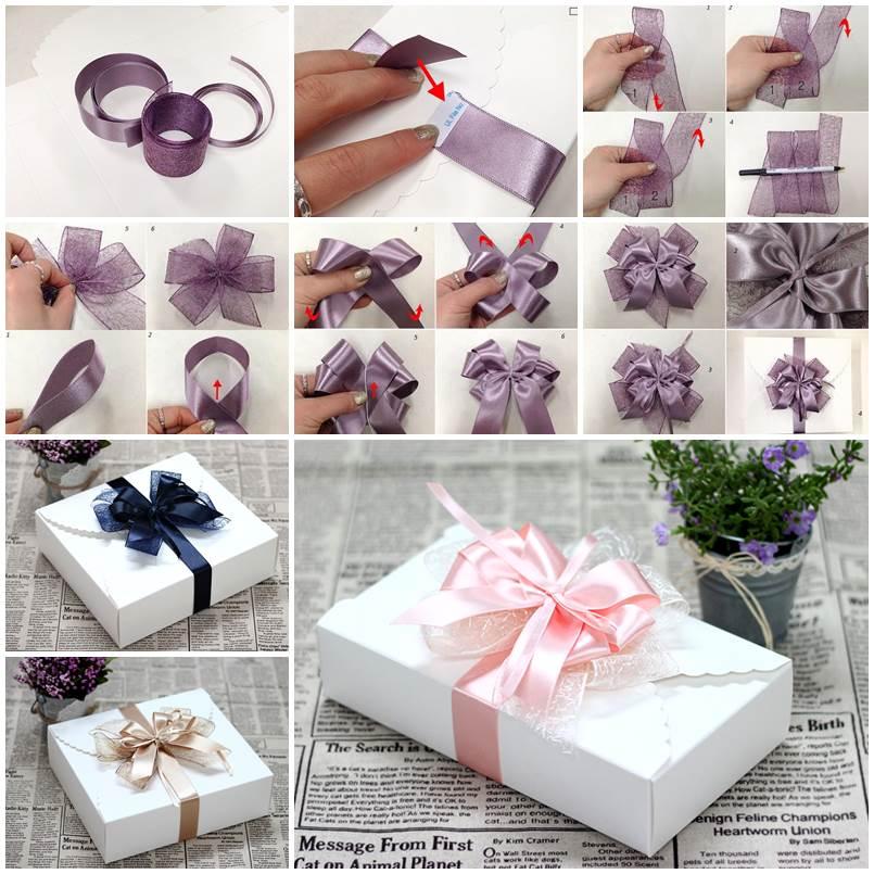 Diy ribbon bow for gift box packaging