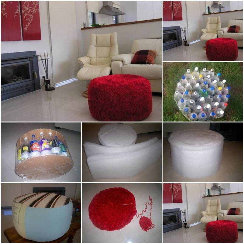 DIY Simple Ottoman from Plastic Bottles 1