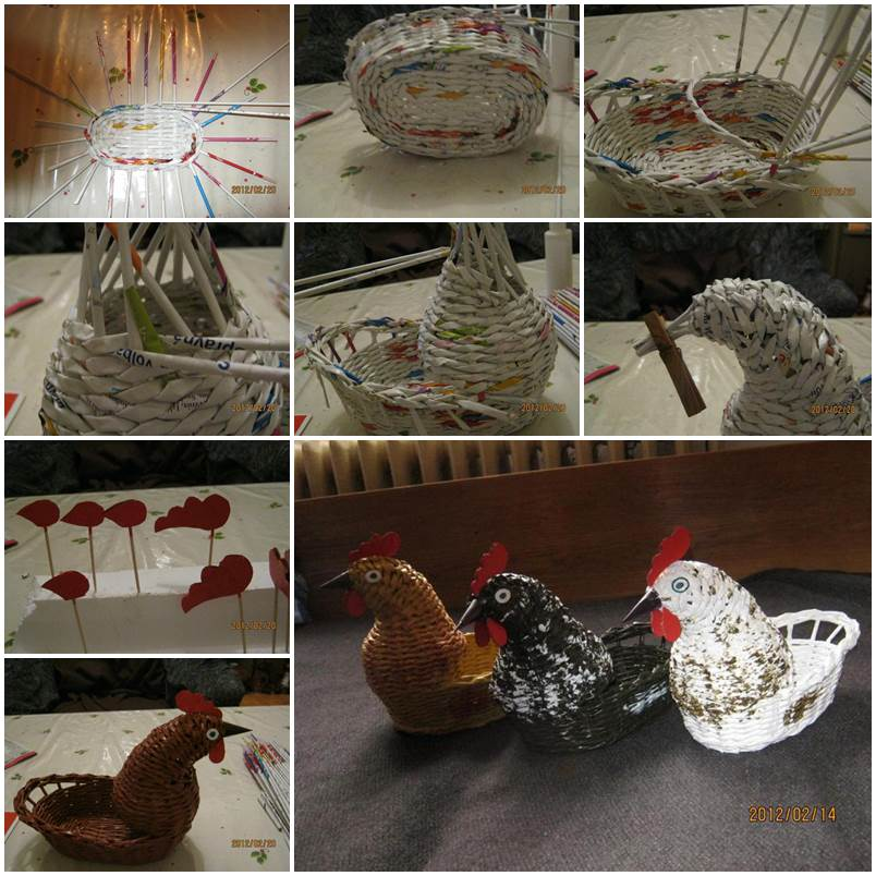DIY Woven Paper Chicken Easter Basket 1
